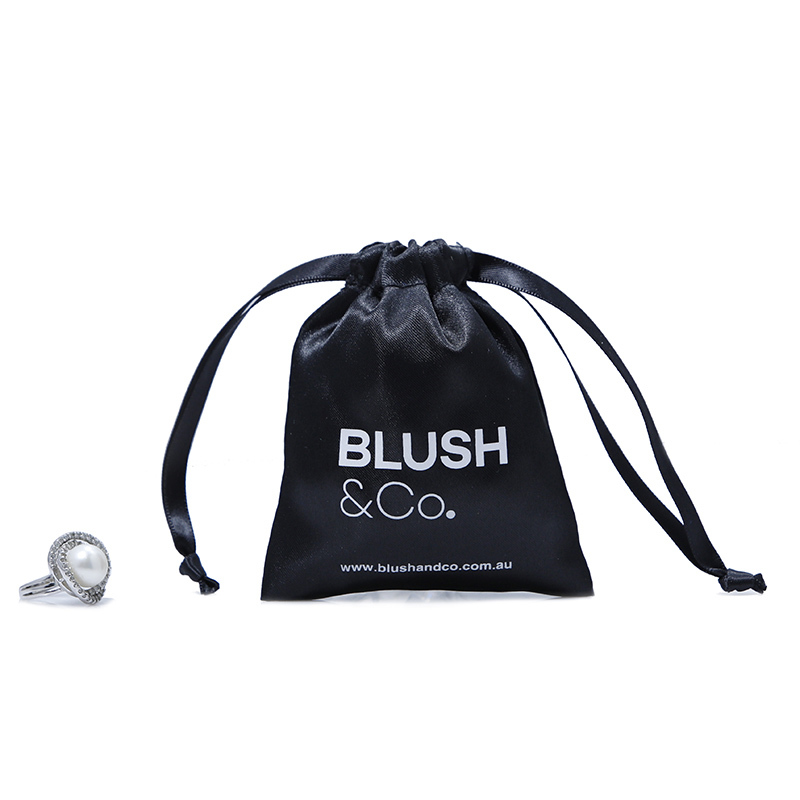 Small black satin drawstring bag gift ring jewelry bag
