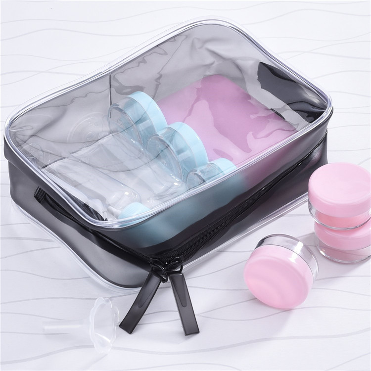 Vacation Bathroom Organizing Clear PVC Toiletry Carry Zippered Pouch