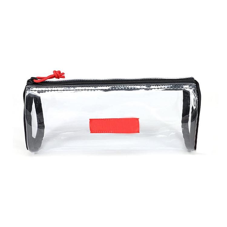 Custom clear student pencil bag pvc cosmetic zipper bag