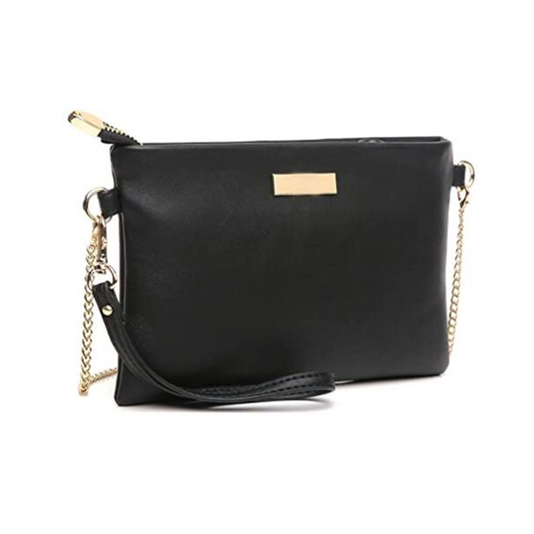 Black PU Leather Crossbody Bag with Chain Strap