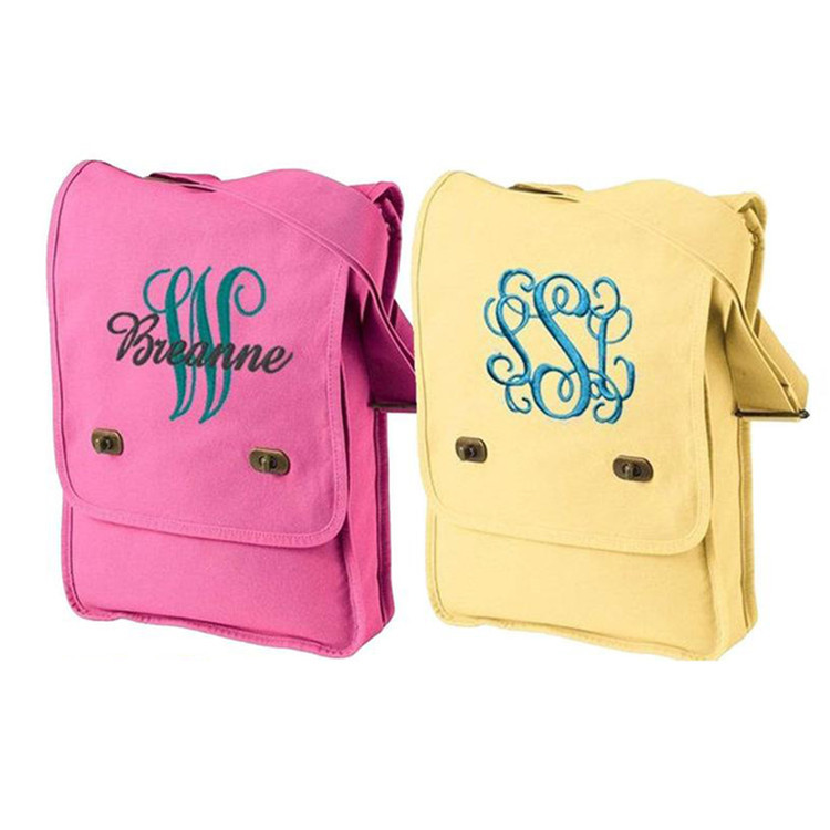 Colorful canvas crossbody messager tote bag with embroidery logo