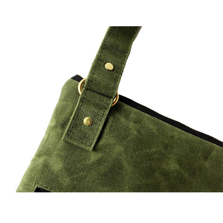Green canvas waxed crossbody bag zipper compartments bag