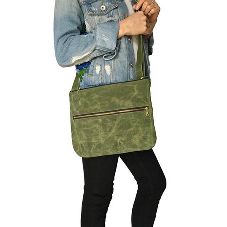 Green canvas waxed crossbody bag zipper compartments bag