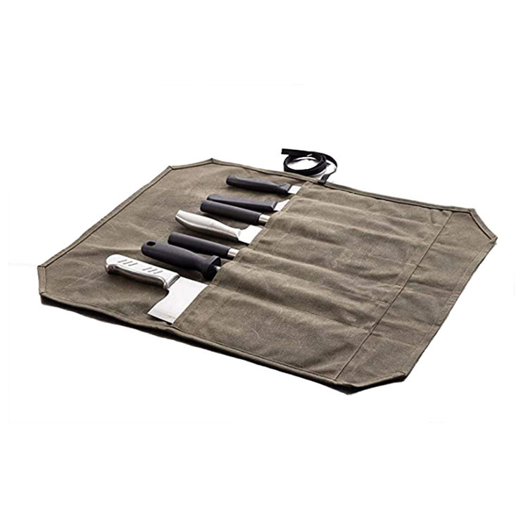 Custom waterproof waxed canvas chefs knife roll bag
