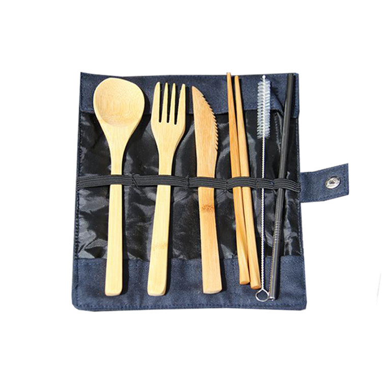 Custom folding canvas chef knife bag packing fork spoon chop sticks bag