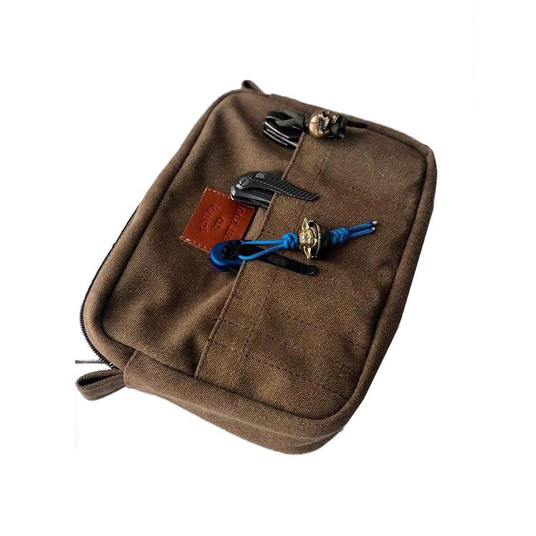 PU logo outside pocket colorful canvas zipper knife bag