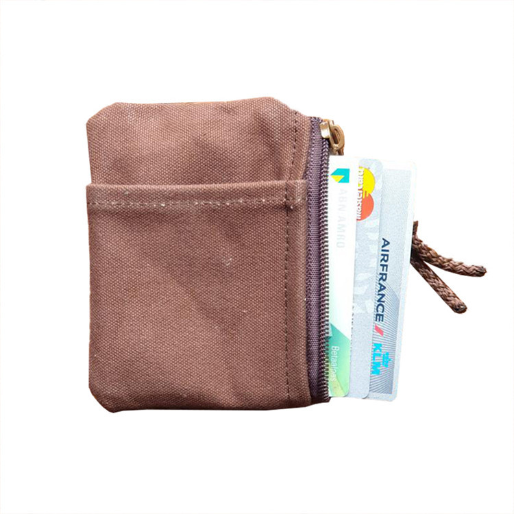 Wholesale custom plain small canvas zippered pockets coins credit cards bag