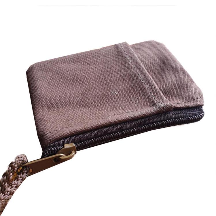 Wholesale custom plain small canvas zippered pockets coins credit cards bag