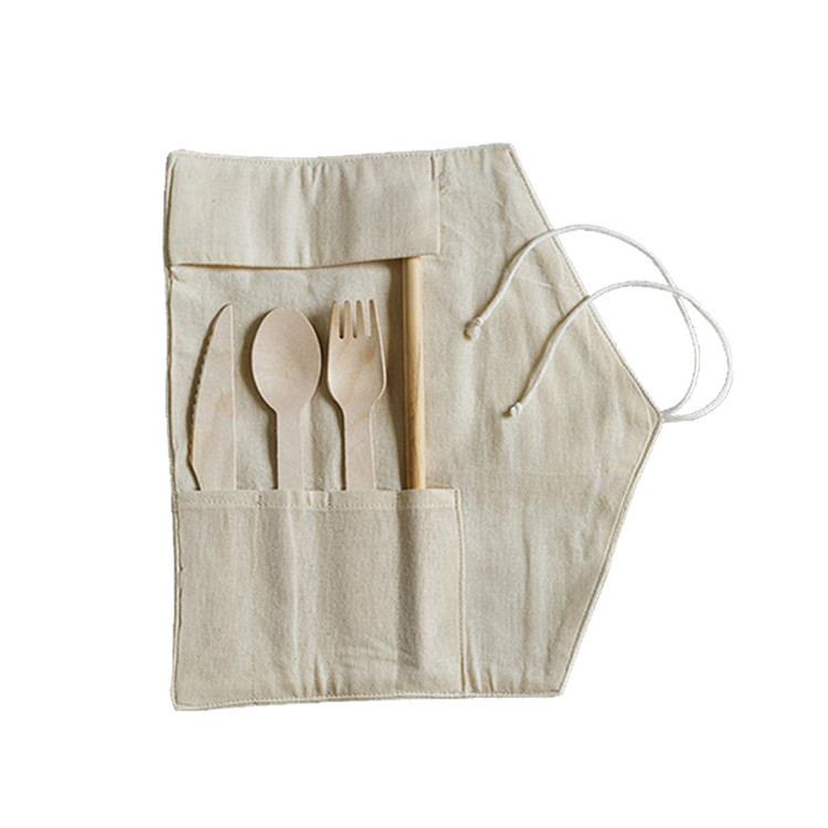 Custom plain travel packing gift natural cotton roll up knife bag with four pockets