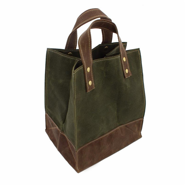 Waxed canvas drinks sandwiches fruit lunch tote bag