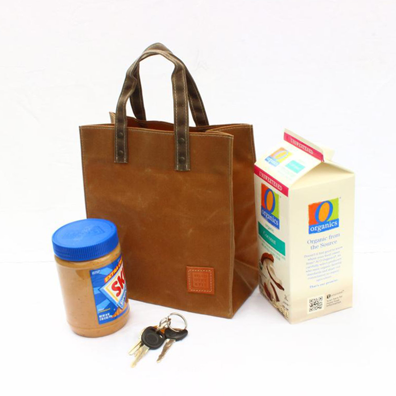 Custom waxed lunch bag picnic fruit shopping tote bag