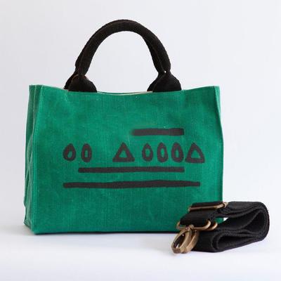 Print logo inside pocket large cvanvas travel bag women shopping bag