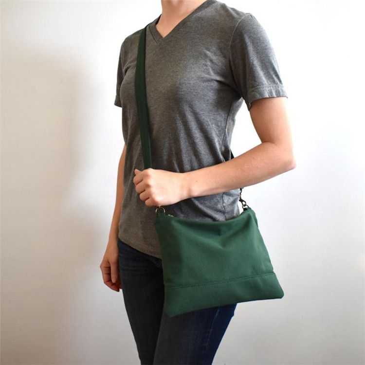 Custom zipper mini sling canvas crossbody bag