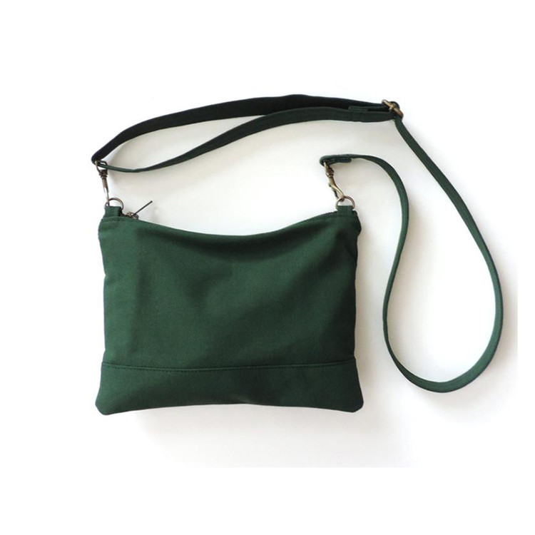 Custom zipper mini sling canvas crossbody bag