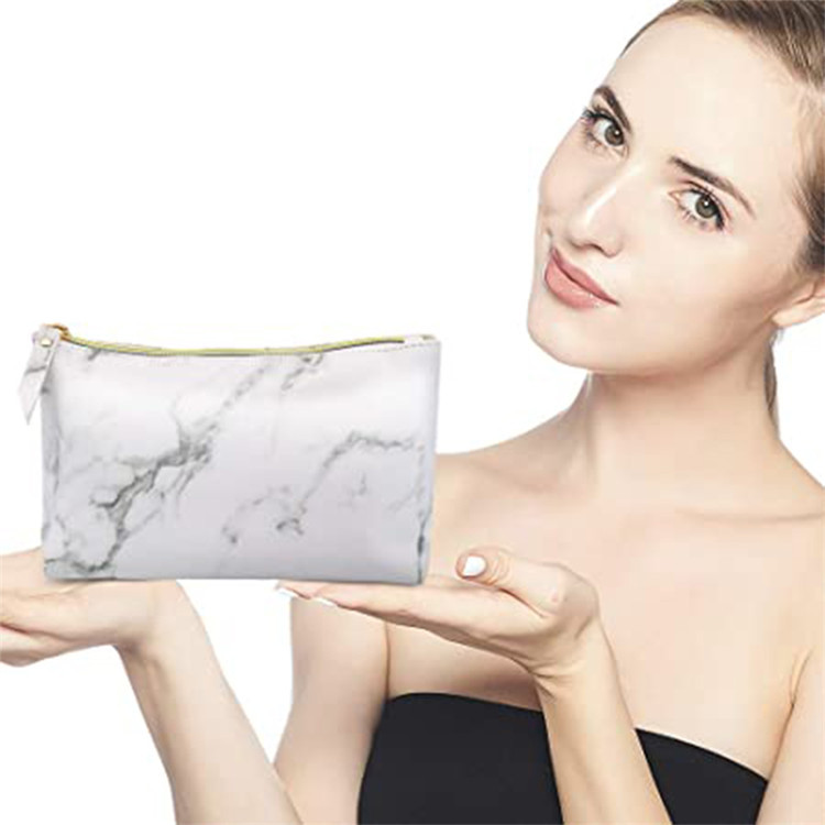 Custom white shopping package cosmetic makeup marble gift bags for women