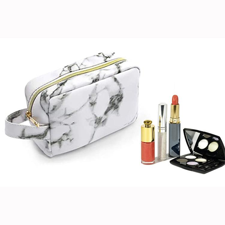 Waterproof toiletry cosmetics makeup lipstick eyeshadow travel zipper pu leather marble bag small handle