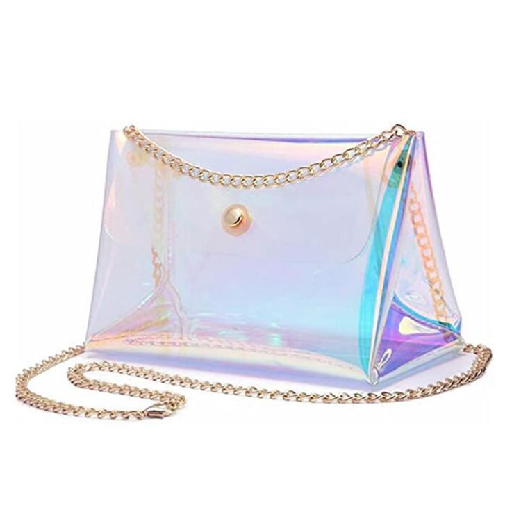 Custom girls shopping travel crossbody laser bag chain