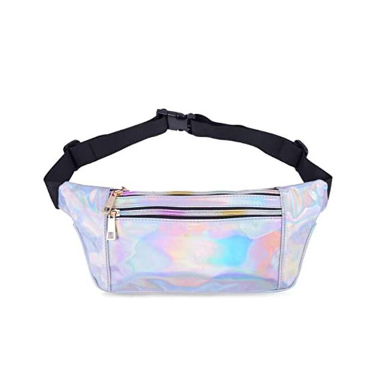 Custom swim travel sport holographic waist bag makeup phone zipper pockets