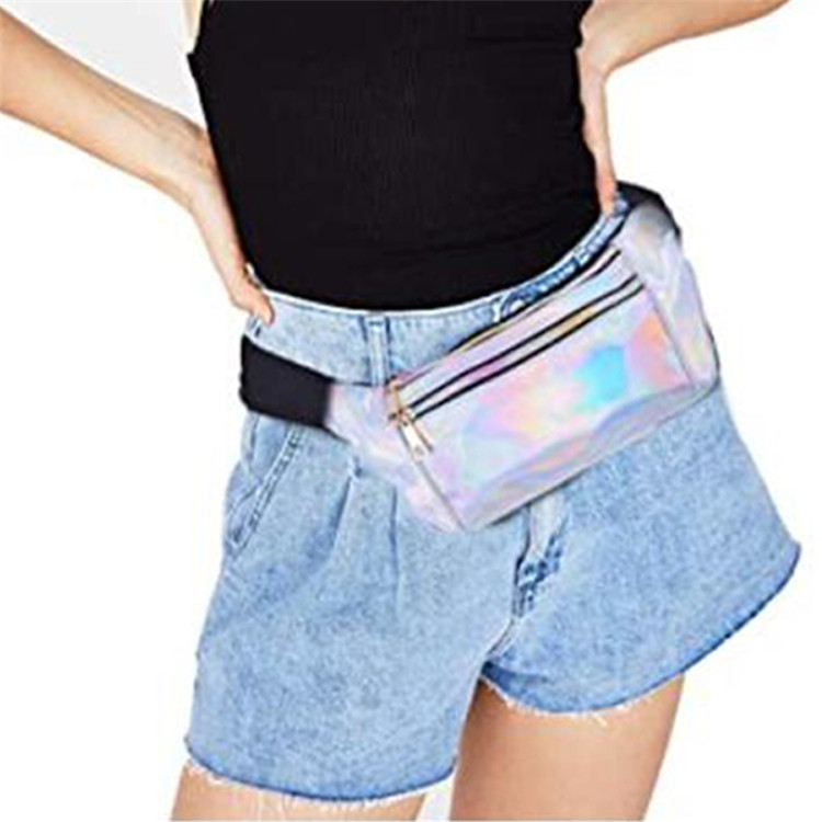 Custom swim travel sport holographic waist bag makeup phone zipper pockets