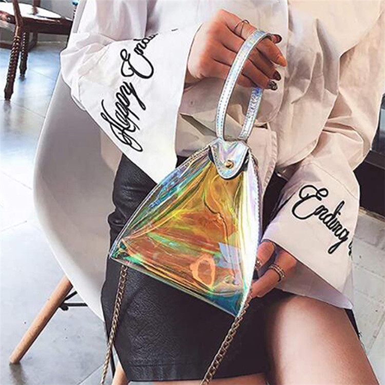 Custom beach travel shopping makeup lady pvc laser tote bag with chain