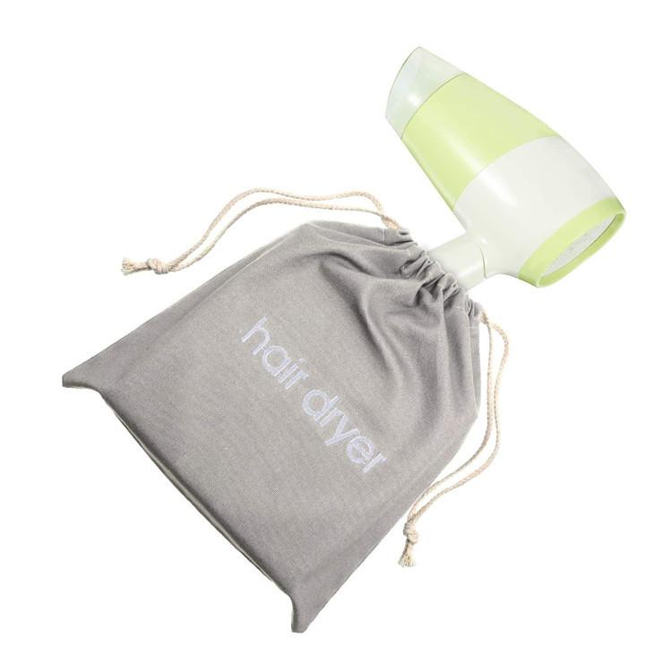 Custom canvas hair dryer bag storage travel socks shoes gift drawstring bag