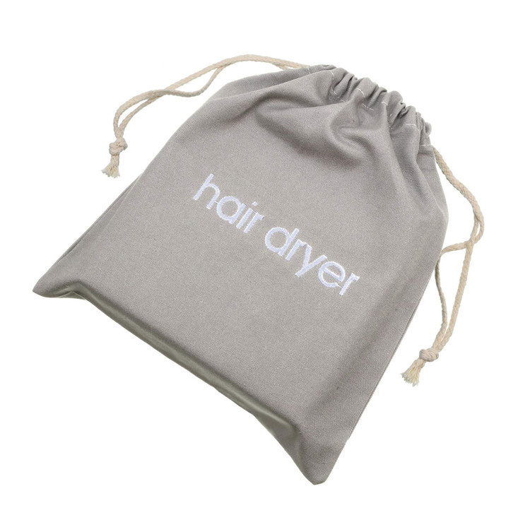 Custom canvas hair dryer bag storage travel socks shoes gift drawstring bag