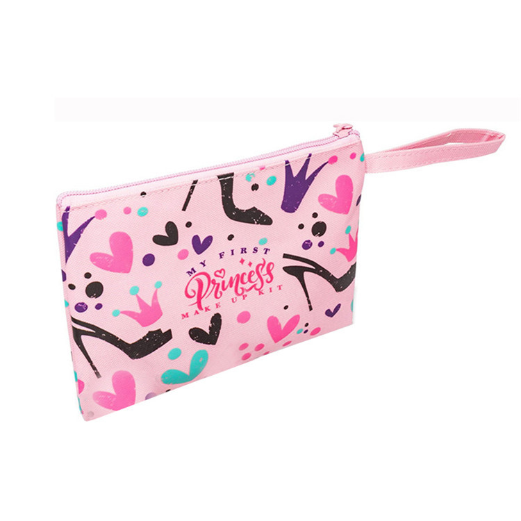 Pink oxford make up bag zipper lipsticks pastel pencil bag handle