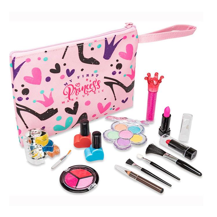 Pink oxford make up bag zipper lipsticks pastel pencil bag handle