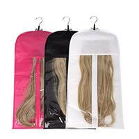 Custom zipper plain non woven hair bag with PVC window