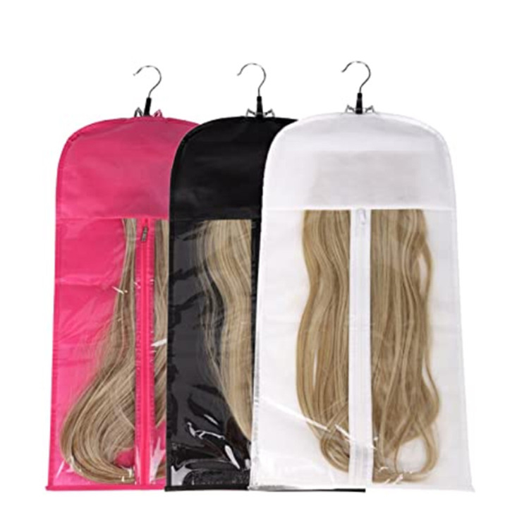 Custom zipper plain non woven hair bag with PVC window
