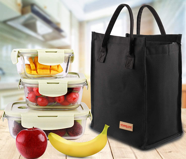 Black oxford tote bag storage meals snacks beverages drinks lunch bag