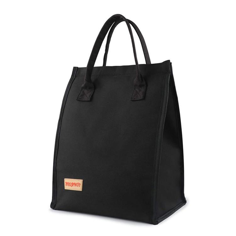 Black oxford tote bag storage meals snacks beverages drinks lunch bag