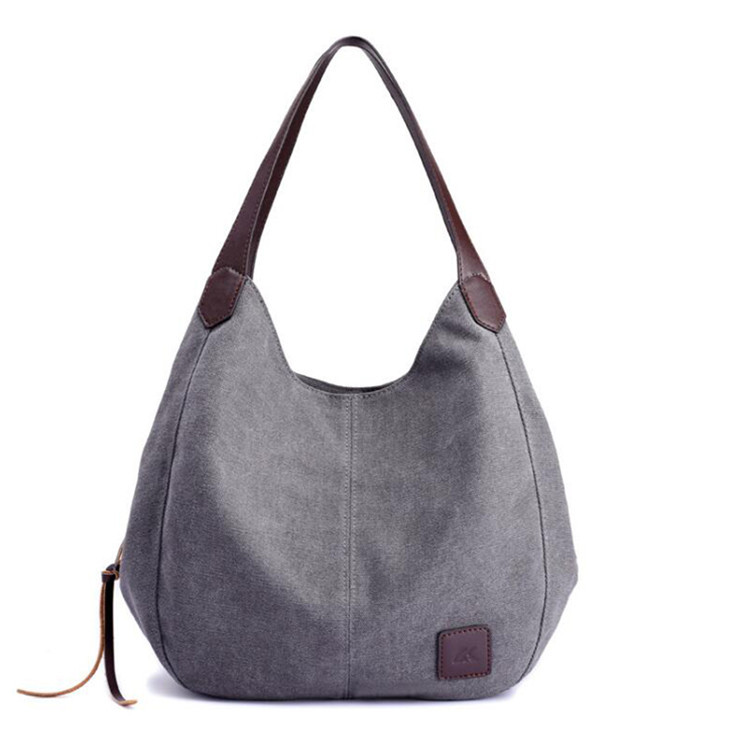 Pre designed trending color grey 100 coton canvas rivage tote bag vanity overnight gift travel handle bag