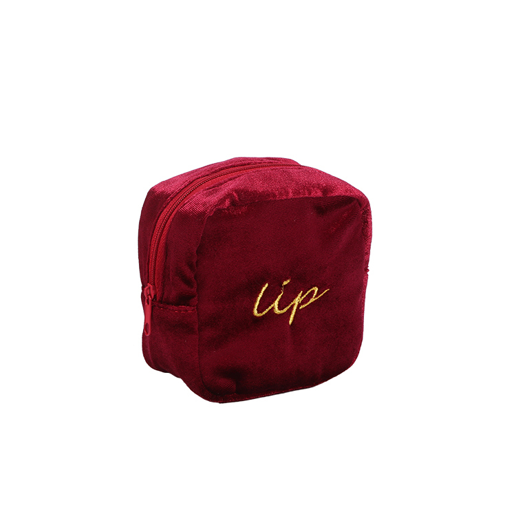 Custom red velvet zipper bag compartment lip brush makeup bag embroidery logo