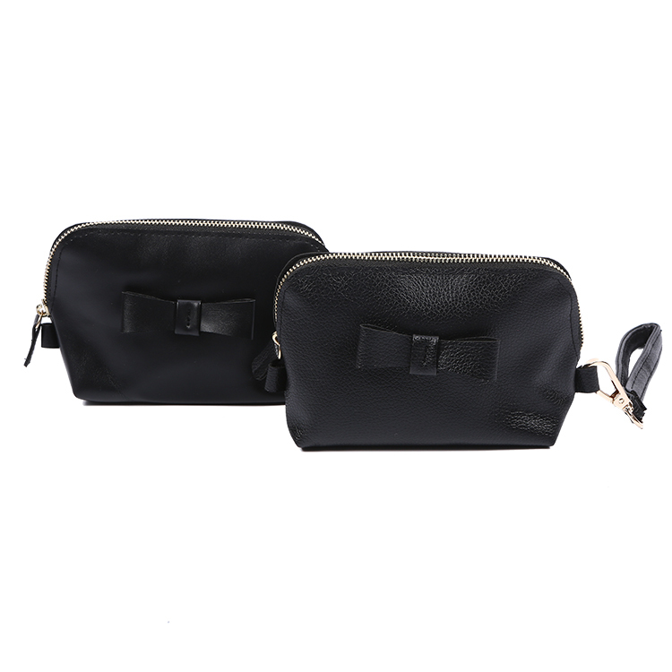 Black PU leather phone bag shopping travel zipper cosmetic bag with handle