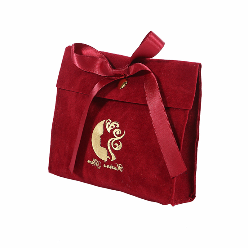Custom envelope red velvet jewelry bag wedding gift bag with bow