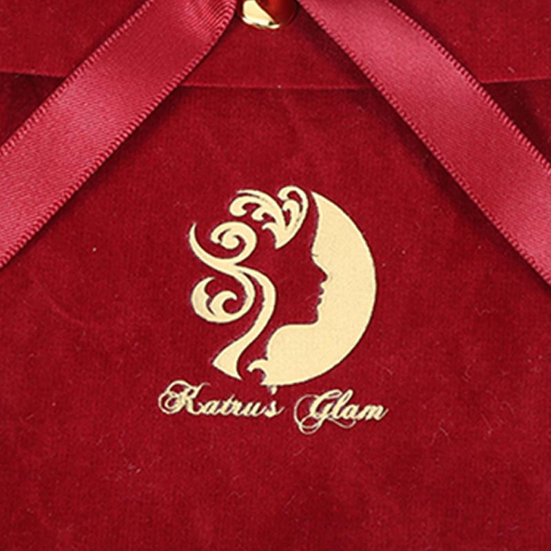 Custom envelope red velvet jewelry bag wedding gift bag with bow