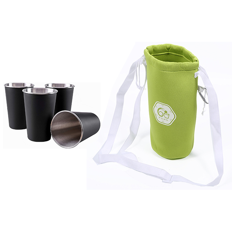 Eco Friendly Neoprene Reusable Small Water Bottle Cup Drawstring Carry Bag
