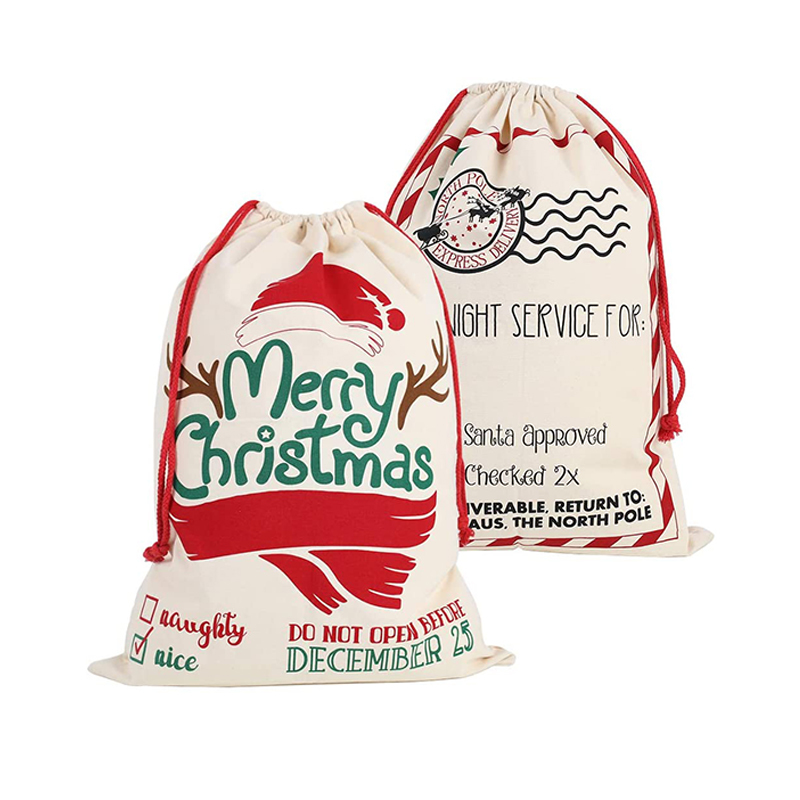 Wholesale price custom canvas christmas gift drawstring decoration storage sacks Santa carrier bag