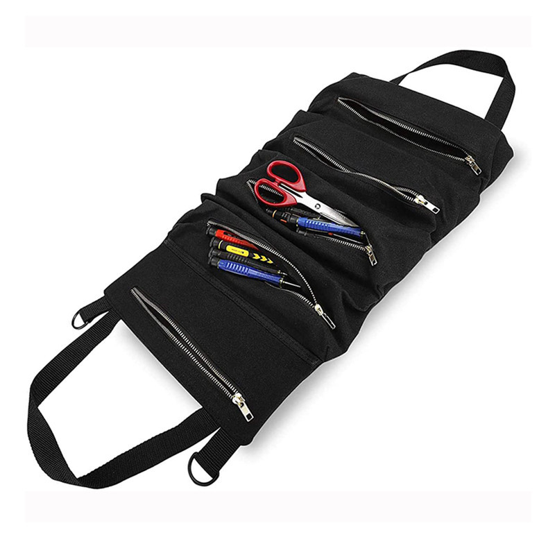 Portable organizer plumber mechanic camping work kit roll up canvas tool bag heavy duty tote bag custom