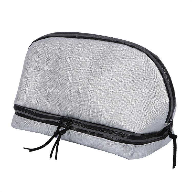 Custom plain pu leather silver luxury makeup bulk cosmetic bags cases organizer