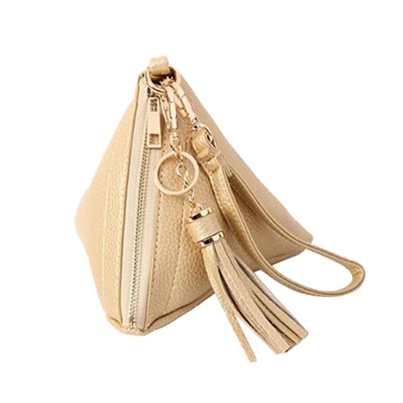 Fashion Triangle Design Small Pu Leather Key Collection Pouch With Handle