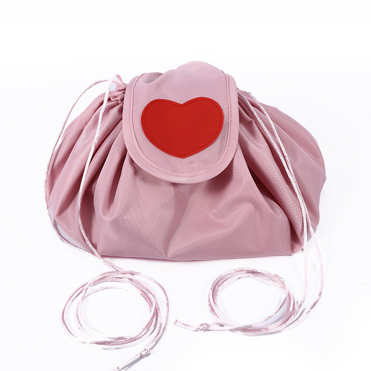 Ladies Double Layers Nylon Rounded Drawstring Lazy Makeup Travel Bag With Heart Design Patch
