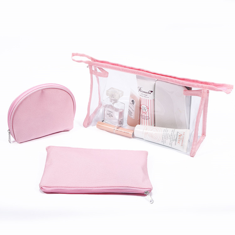 Wholesale promotional packaging lips skincare fancy transparent pvc new style custom clear cosmetic bags makeup