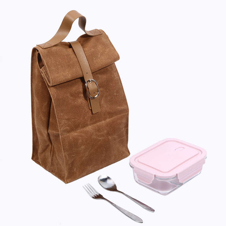 Premium Waterproof Waxed Canvas Casual Lunch Bag With Pu Leather Handle