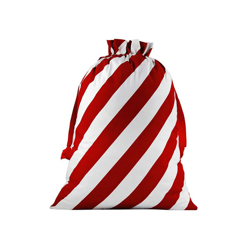Eco Friendly Gingham Cotton Fabric Pretty Christmas Drawstring Candy Gift Storage Bag