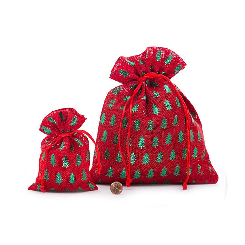 Reusable Printed Design Jute Christmas Gift Packing String Sweet Bag