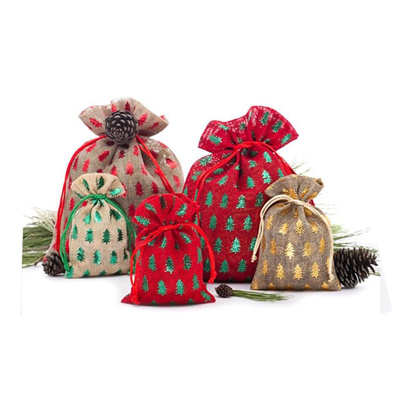 Reusable Printed Design Jute Christmas Gift Packing String Sweet Bag