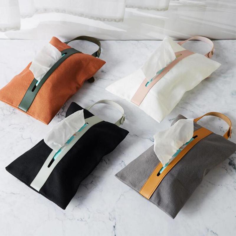 Custom plain organizer tissu canvas bag hang up small PU leather handle dust bag