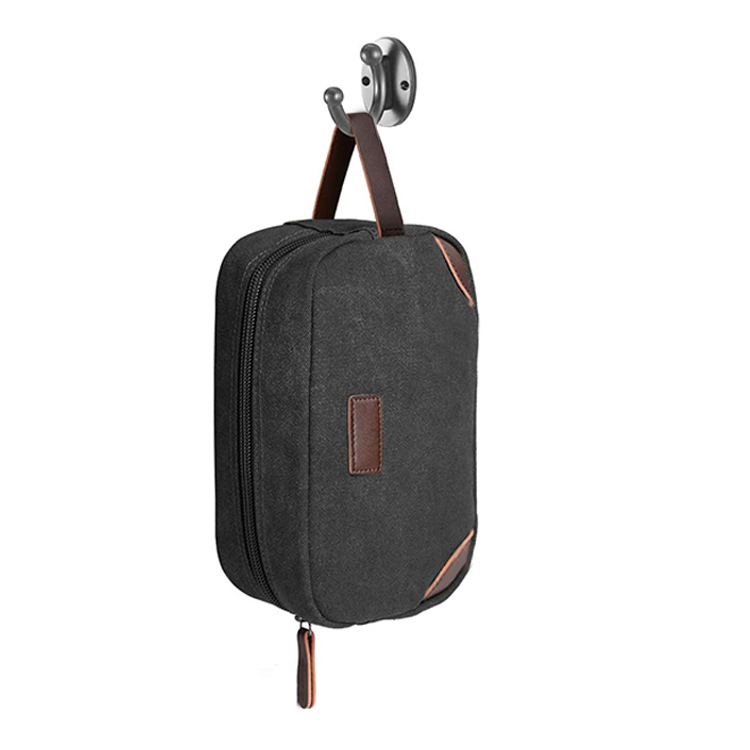 Men'S Outdoor Vintage Canvas Pu Leather Cosmetic Storage Traveling Bag